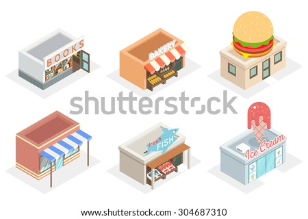 Vector shops and stores 3d isometric icons. Fastfood and bakery, fresh fish and ice cream, design facade building illustration - stock vector