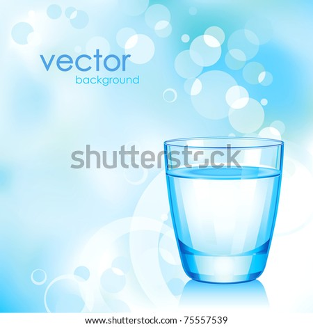 Vector short blue glass with water. - stock vector