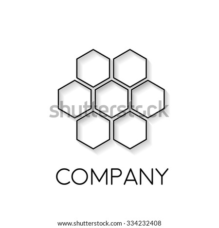 Vector sign abstract beehive, in linear style - stock vector