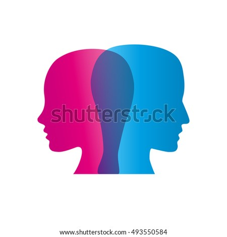 Vector sign abstract dual personality, couple in quarrel