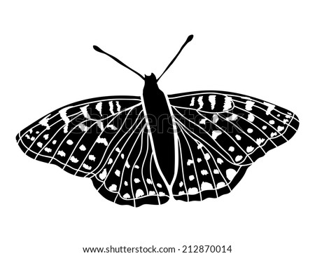 Vector sign. Butterfly on white. - stock vector