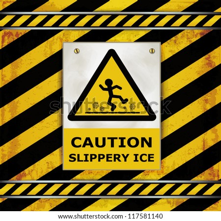 vector Sign caution blackboard caution slippery ice - stock vector