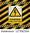 vector Sign caution blackboard danger high voltage - stock photo