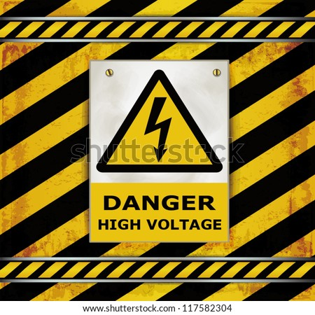 vector Sign caution blackboard danger high voltage - stock vector
