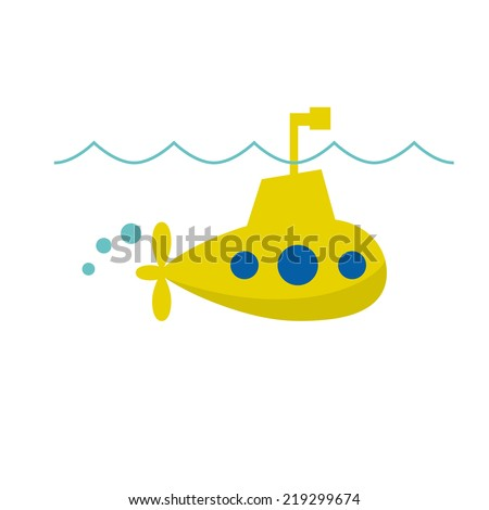 Vector sign cheerful submarine - stock vector