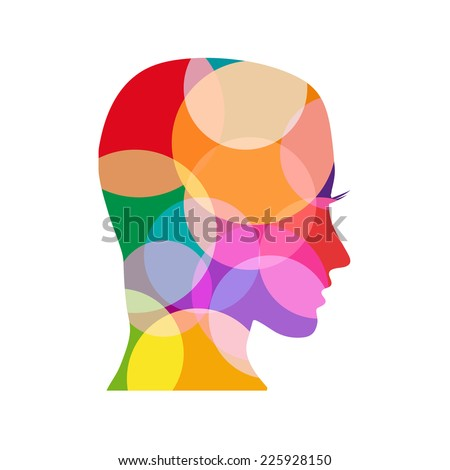 Vector sign colored head  - stock vector