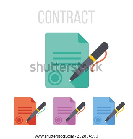 Vector sign contract icons. - stock vector