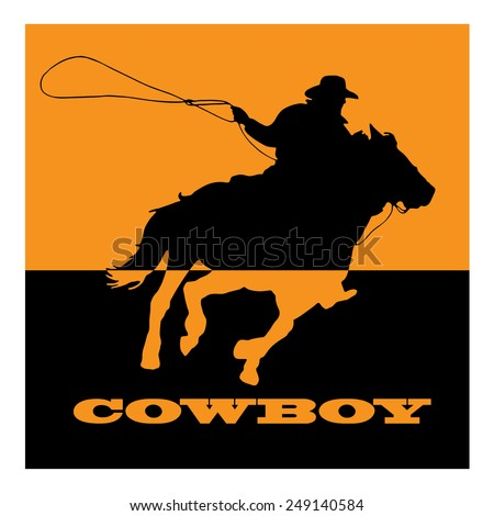 Vector sign cowboy on orange background - stock vector