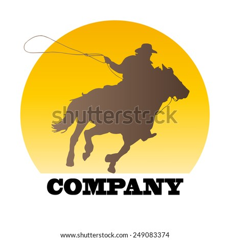 Vector sign cowboy on sunset  - stock vector