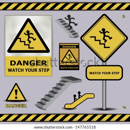 vector sign danger watch your step warning collection