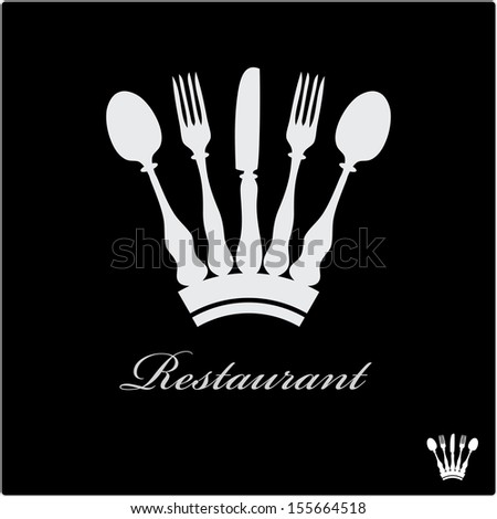 vector sign for restaurant with crown - stock vector