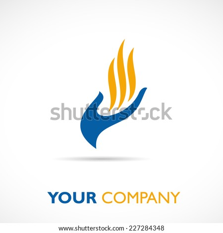 Vector sign hand and flame - stock vector