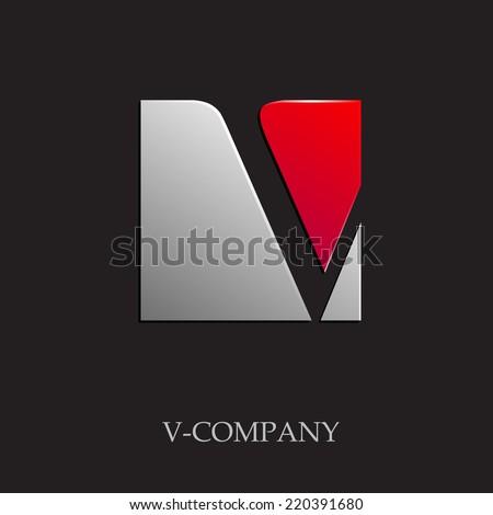 Vector sign initial letter V on black background  - stock vector
