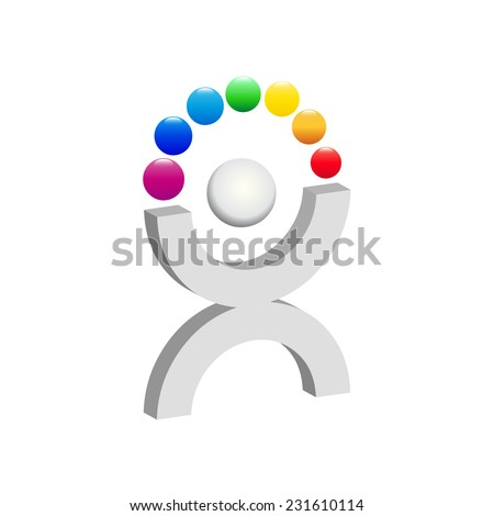 Vector sign juggling with balls - stock vector