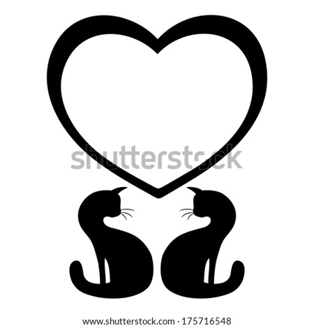 Vector sign. Love cats. - stock vector