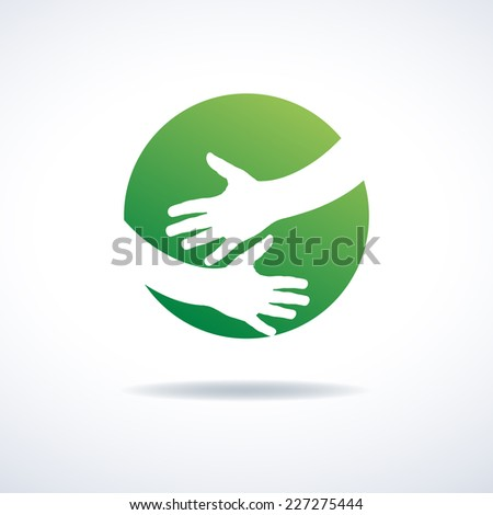Vector sign Love for the earth - stock vector