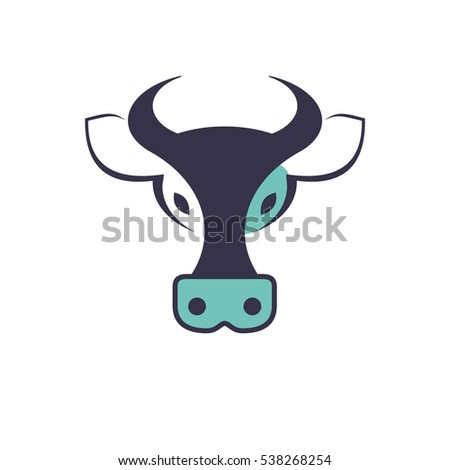 Vector sign of cow symbol. Icon isolated on white background.
