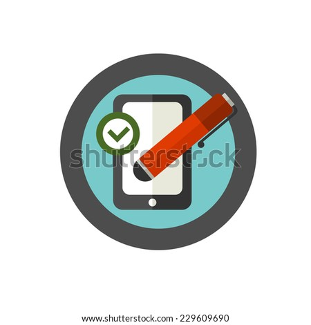 Vector sign of right using of writing utensils. Stylus. - stock vector