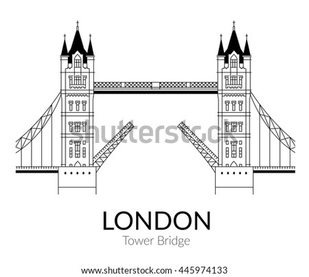 Vector Sign Tower Bridge Outline Design Stock Vector
