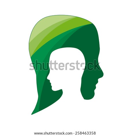 Vector sign people ecological, think green - stock vector
