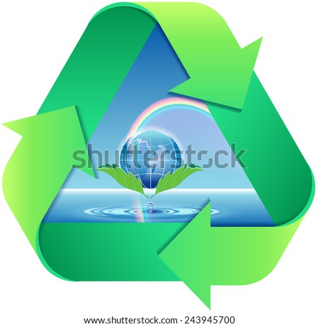Vector sign recycling of water and the rainbow - stock vector