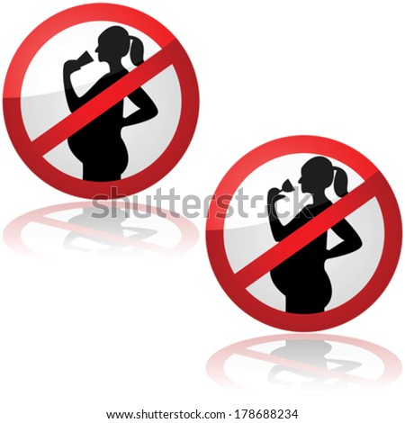 Vector sign showing pregnant women are not allowed to drink alcohol - stock vector