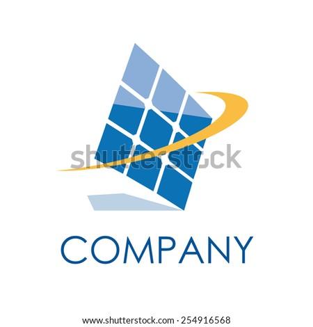 Vector sign solar panel - stock vector