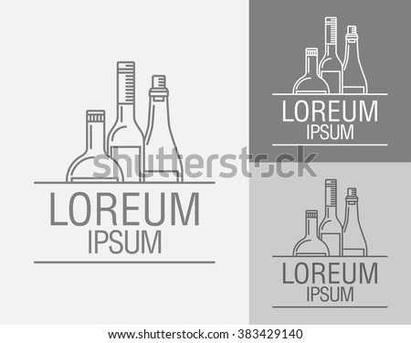 Vector sign template. Bottles of wine, brandy, port wine, Logo of the winery, alcohol plant, drinking establishment, a emblem in the drinks menu. - stock vector
