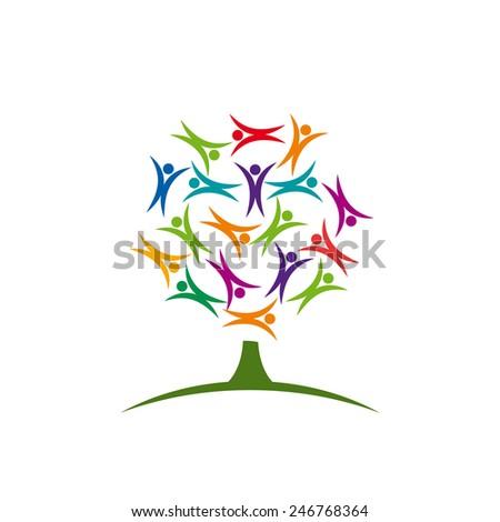Vector sign tree children - stock vector