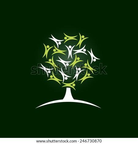 Vector sign tree children, green background - stock vector