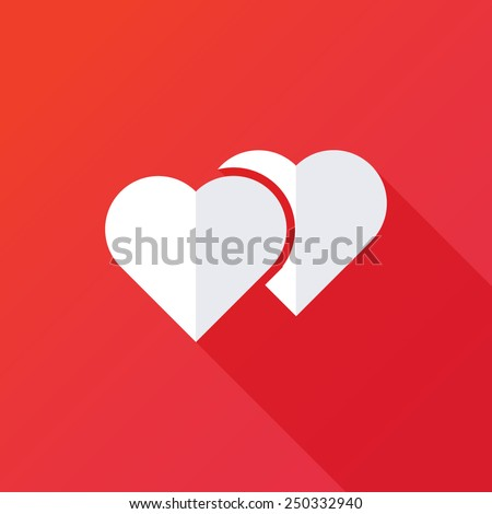 Vector sign two hearts - stock vector