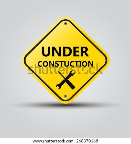 Vector sign under construction - stock vector