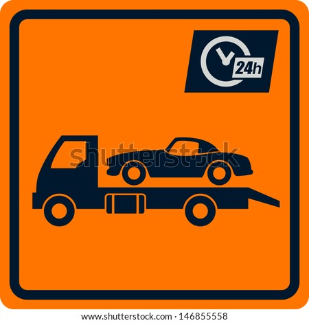 Vector sign with truck tows. Sign can be used for design and decoration. - stock vector