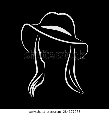 Vector sign Woman with hat  - stock vector