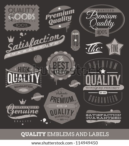 Vector signs, emblems and labels of quality and guaranteed - stock vector