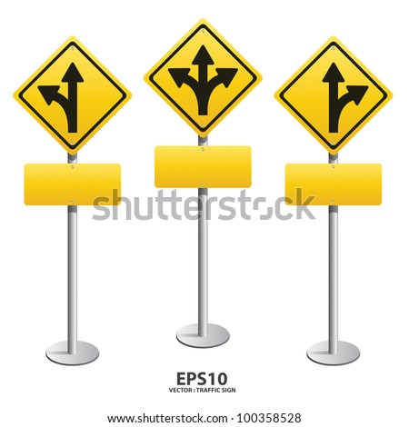 vector Signs straight, turn left, turn right - stock vector