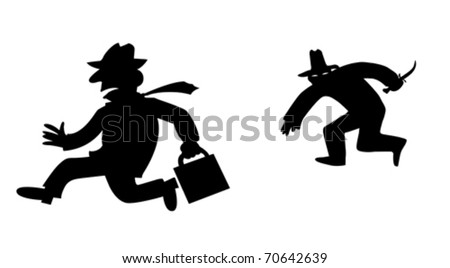 vector silhouette bandit on white background - stock vector