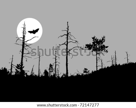 vector silhouette bat on moon background - stock vector