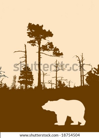 vector silhouette bear on background wild wood - stock vector