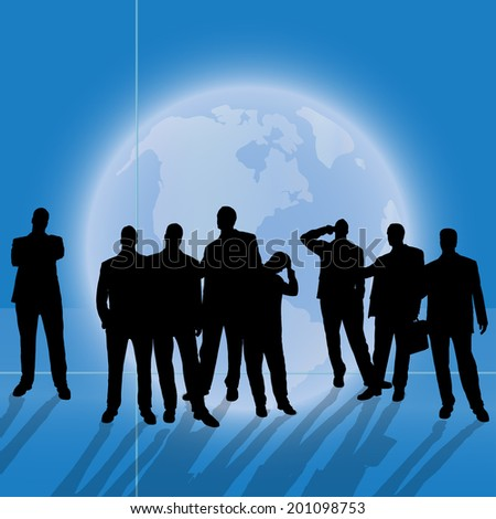 Vector silhouette business people on background of the planet Earth.