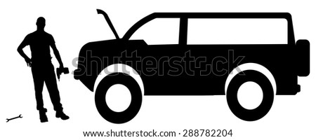 Vector silhouette car repairs on a white background.