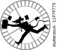 vector silhouette cartoon graphic depicting a running rat dressed as businessman (concept: rat race) - stock photo