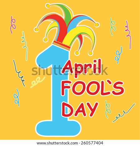 vector silhouette clowns hat on one digit with type fools day - stock vector