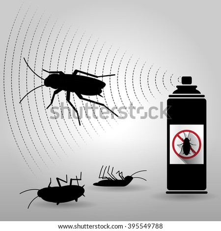 vector silhouette cockroach with spray can - stock vector