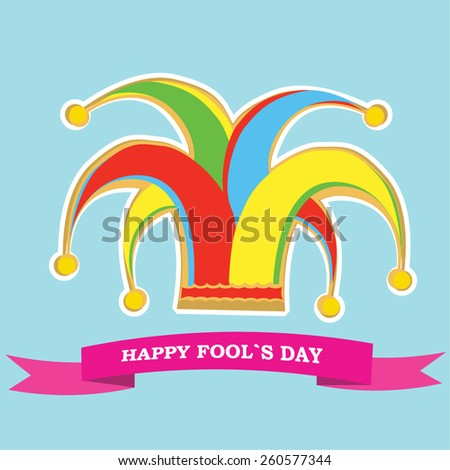 vector silhouette colorful clowns hat and ribbon for happy fools day - stock vector