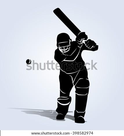 Vector silhouette cricketer - stock vector