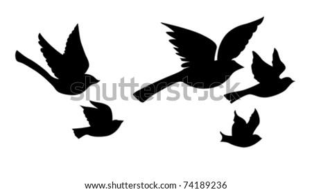 vector silhouette flying birds on white background - stock vector
