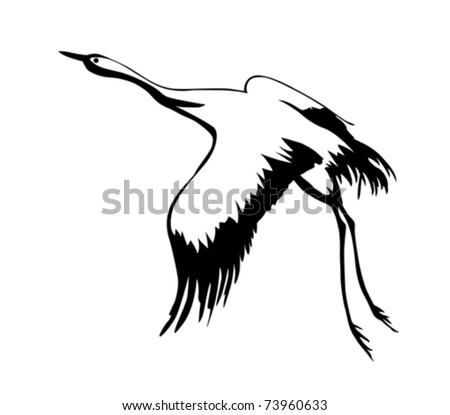vector silhouette flying crane on white background - stock vector