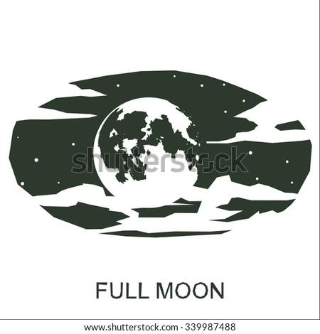 Vector silhouette full moon - stock vector