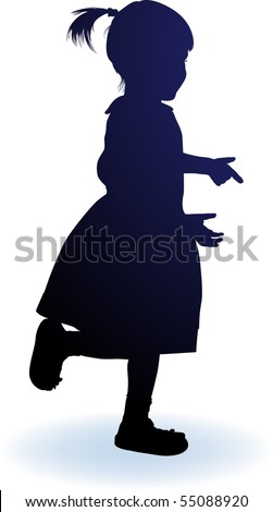vector silhouette girl - stock vector